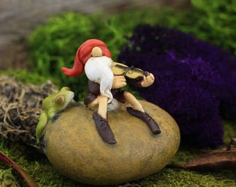 Garden Gnome Playing Fiddle with Frog - Miniature Fairy Garden Supply
