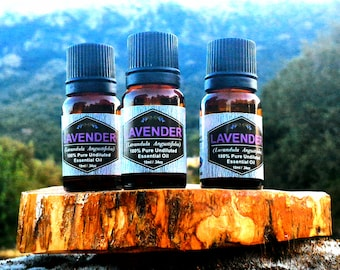 100% Pure Organic Lavender Essential Oil (Undiluted - Therapeutic Grade-GCMS), SET OF 3 (Three) 10ml/0.34oz bottles-From Greece!