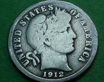 1912-D Barber Dime Good Silver  FREE Shipping In United States # ET189