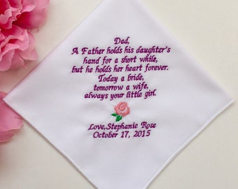 Father Of The Bride Handkerchief/Personalized Embroidered Wedding Hankies For Dad/With Free Handkerchief Gift Box