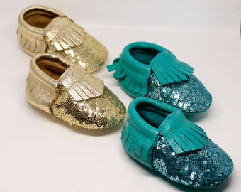 SALE!  Sequin Baby Moccasins // Gold Sequin Moccasins // Mermaid Party // Toddler Moccasins // Baby Girl Shoes // Baby Mocassin