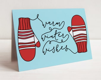 Warm Winter Wishes Greeting Card, Happy Holidays Greeting Card, Merry Christmas Card, Mittens Greeting Card