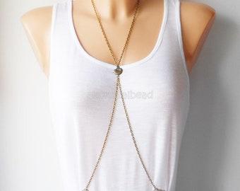 Antique bronze bird body chain harness jewellery,Summer jewelry,Chain jewelry,Jewelry for summer,Body jewelry,Gift for her,Body harness,Biki