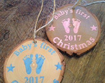 Baby's 1st Christmas Ornament- rustic wooden ornament- log ornament- custom gift- Country Christmas- baby shower gift - baby Christmas gift