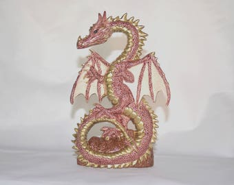 Burgundy and Gold Ceramic Dragon Statue ~ Dancing Dragon