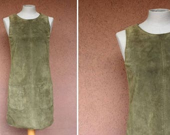 Green Kahki Suede Leather Dress - Size S