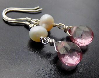 Pink Quartz Drop Earrings, Pearl Earrings, Mystic Quartz Sterling Silver Teardrop Earrings