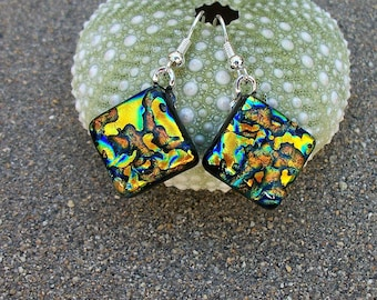 Yellow Gold With Aqua and Deep Sea Blue Accents Dichroic Glass Dangle Earrings