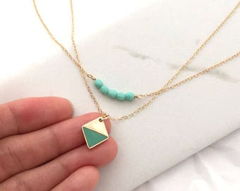 mint beaded layering necklace, Geometric layered necklace, Minimalist, 14K Gold necklace, Dainty Necklace, everyday necklace,  skyblue beads