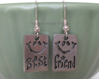 Earrings BFF Best Friends Friendship sterling silver french wire dangle earrings Bestie girls birthday kids tween teen smile friend jewelry