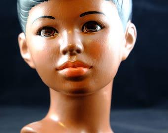 Vintage Ceramic Bust of Boy, Mid-Century