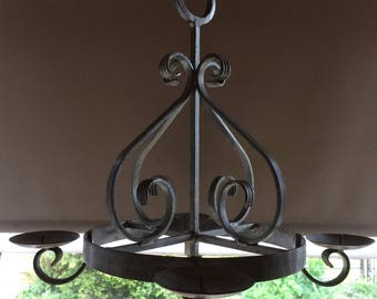 Handmade 4 Candle Wrought Iron Chandelier