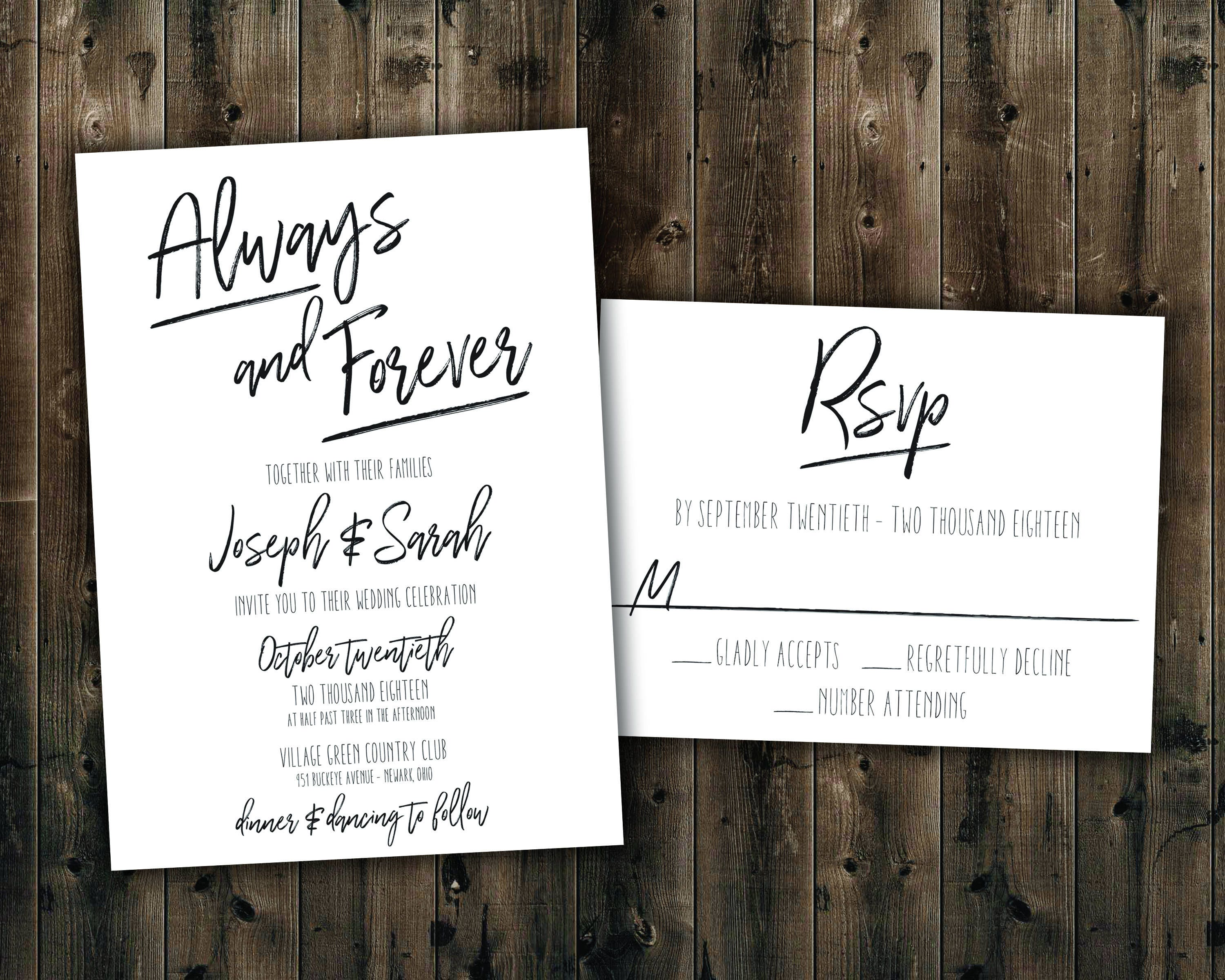 Simple Black and White Wedding Invitations Set Printed, Always and ...