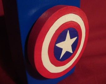 Bank--Wooden Captain America Bank--Handmade