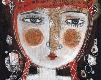 Mixed Media Painting Original Modern Folk Art Quirky Portrait face woman quirky