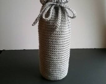 Silver Wine Cozy, Crochet Wine Bottle Cover, Liquor Gift Cozy