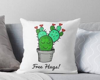 Valentine pillow, cactus pillow, valentines pillow, cactus decor, valentines day pillow, valentines day decor, green cactus, cactus nursery,