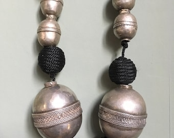 Old SILVER Large Turkoman Beads & Black Cord Necklace with Tassels