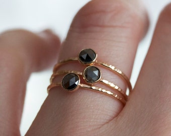 Rose Cut Black Diamond Ring, Diamond Stacking Ring, 14k Yellow Gold Band, Hammered Ring, Eco Friendly Gold, Conflict Free Handmade Jewelry