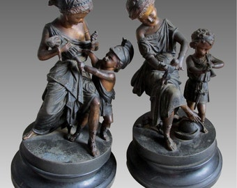 1800's Antique Art Nouveau French Spelter Statue Pair Children Toy Dolls