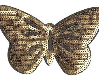 Beautiful 11cm Gold Sequins Butterfly Patch