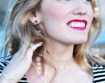 GENUINE Raw Amethyst Pretty Stainless Steel Earrings Crystal February Birthstone
