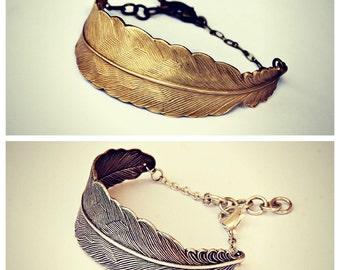 Feather friendship bracelets, best friends jewelry, silver and gold bracelet, bracelet set