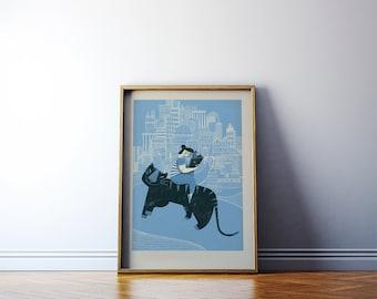 Children's illustration art: Blue Tiger. Giclée print on archival paper. A2 Poster. 50x70 cm poster.