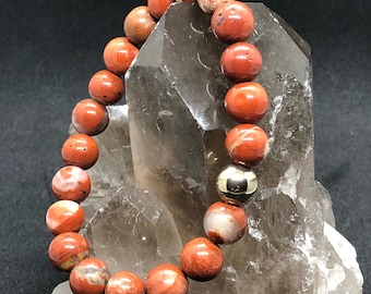 Red Jasper gemstone bracelet with pyrite