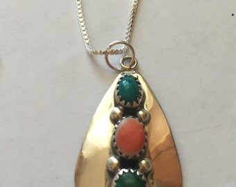 Vintage Sterling Silver Native American Turquoise, Coral and Malachite  Pendant Necklace