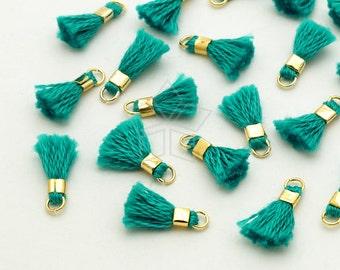 TA-038-GD / 6 pcs - Tiny Mini Tassel Pendant (Sea Green), Handmade Small Cotton Tassels, with Gold Plated Brass Ring / 12mm