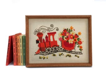 Vintage Floral Crewel Wall Hanging Framed Handmade Embroidery Art Crewel Flowers in a Train Wall Art in Wooden Frame The Flower Train
