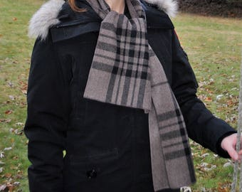 Brown & Black Plaid Italian Wool Scarf