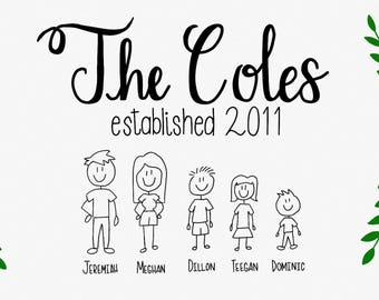 Family Printable-Personalized-Custom-Special-Family Members-Family Names-People-Established-Made for You