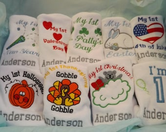 Personalized My First Holiday Bib Set, Baby Shower Gift