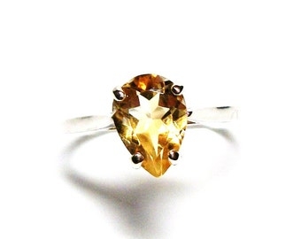 "Citrine, citrine ring, birthstone ring, solitaire ring, yellow orange ring, s 7  ""Spritely"""