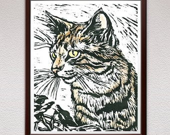 Cat, Linocut Print, Block Print, Relief Art Print, Lino Cut Print, Linoleum Print, Wall Art, Christmas, Gift, For Him, For Her, Gift Idea