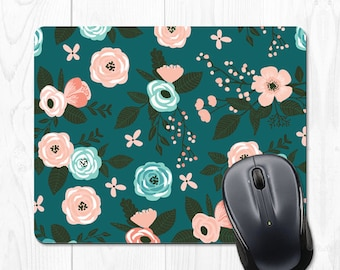 Mousepad Floral Mouse Pad Cute Office Decor Cubicle Decor Floral Mousepad Office Desk Accessories Cubicle Accessories Pink Office Supplies