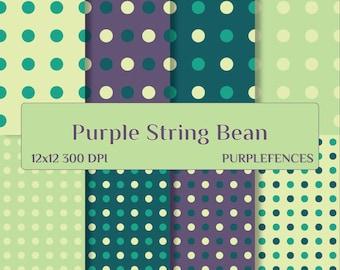 Purple String Bean POLKA DOTS Scrapbook DIGITAL Paper wedding Invites, Card Making, Scrap Booking Paper/Instant Download/Printable/Polka Dot