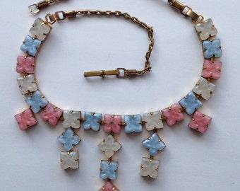 Sale Vintage Pastel Pressed Glass Link Tiered Necklace Choker
