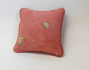 Pink Hummingbird, Butterfly and Bee Pattern Square Pillow with Striped Fabric on Back
