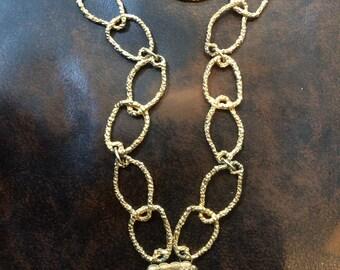 Golden Rhinestone Dress Clip Necklace