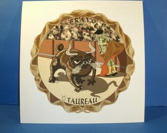 Taurus Bullfighter Original Limited Edition Print Signed Artist LOS Zodiac Art French Language Taureau Bravo Full Color Bullfighting Stadium