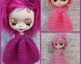 "PDF knitting pattern - Candy Floss dress and flower headband for 12"" Middie and Petite Blythe"