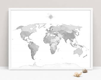 World map art etsy gray world map wall art wall decor bedroom map of the world living room world map art print large world map art modern world map print gumiabroncs Images
