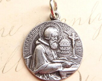 St Leo the Great Medal - Patron of sick people and against illness - Sterling Silver Antique Replica