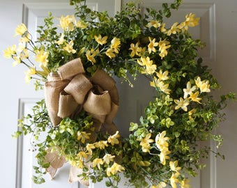 Summer Wreath Boxwood Door Wreath, Green Yellow Boxwood Wreath for Front Door, Wedding Wreaths