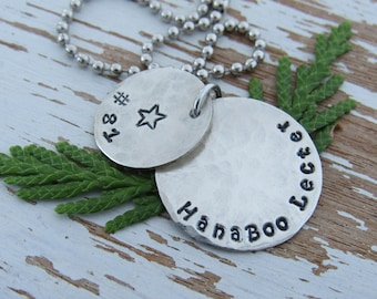 ROLLER DERBY NECKLACE with jammer star - hand stamped - silver - distressed - personalized - derby wife gift - roller skating - skater sport