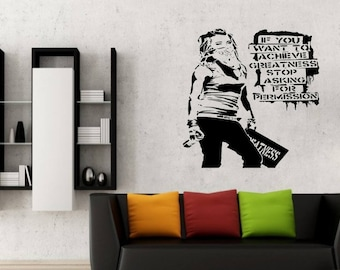 Banksy Achievements Girl vinyl wall art silhouette
