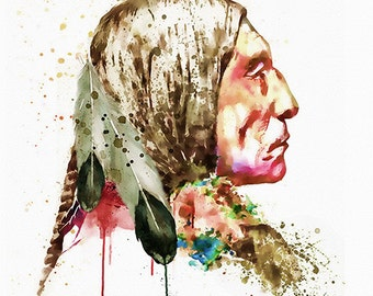 Native American Side face Watercolor painting Wall art Printable art Indian decor Modern art Watercolor indian Aquarelle Indian poster Art